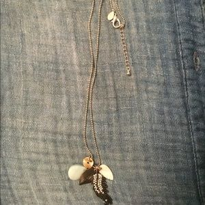 Silver-tone statement necklace w charms